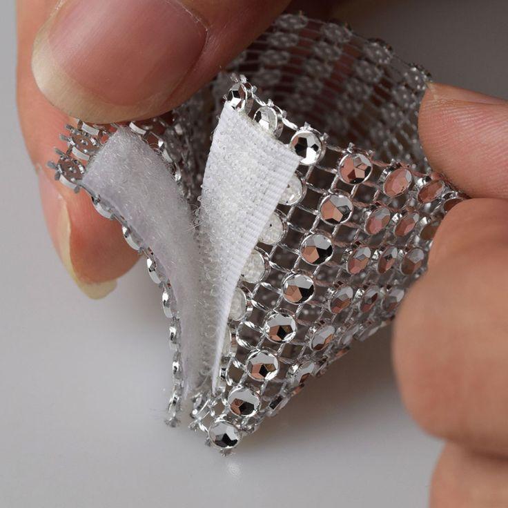 Free shipping 100 Rhinestone Bow Covers Velcro 8 Row - silver wedding chair sash napkin rings