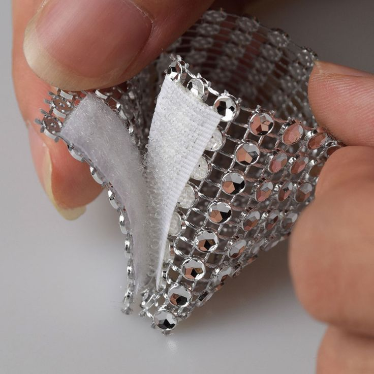 Free shipping 100 Rhinestone Bow Covers Velcro 8 Row - silver wedding chair sash napkin rings
