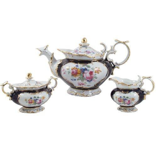 Victorian Tea Sets | ... Tea >> Teapots >> Victorian Floral Gold Leaf Porcelain Tea Set 17