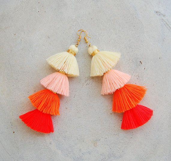 Four Layered Ombre Orange Tassel Earrings