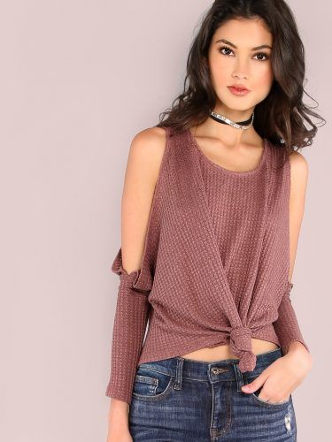 Purple Waffle Knit Open Shoulder Knot Front Batwing T-shirt