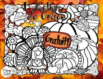 * FREE * French Thanksgiving colouring page - L'Action de Grâce!