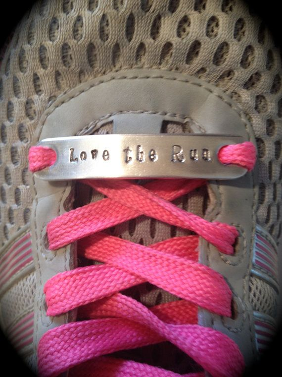 "Running Shoe Charm, Custom Hand Stamped Metal ""Runner"" Inspirational Shoe Quotes, The perfect gift for any runner!"
