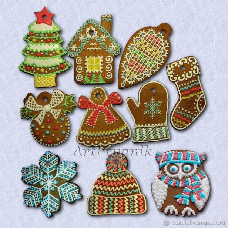 Купить Набор ёлочных украшений Северная традиция 2016 (пряники-козули) в интернет магазине на Ярмарке Мастеров