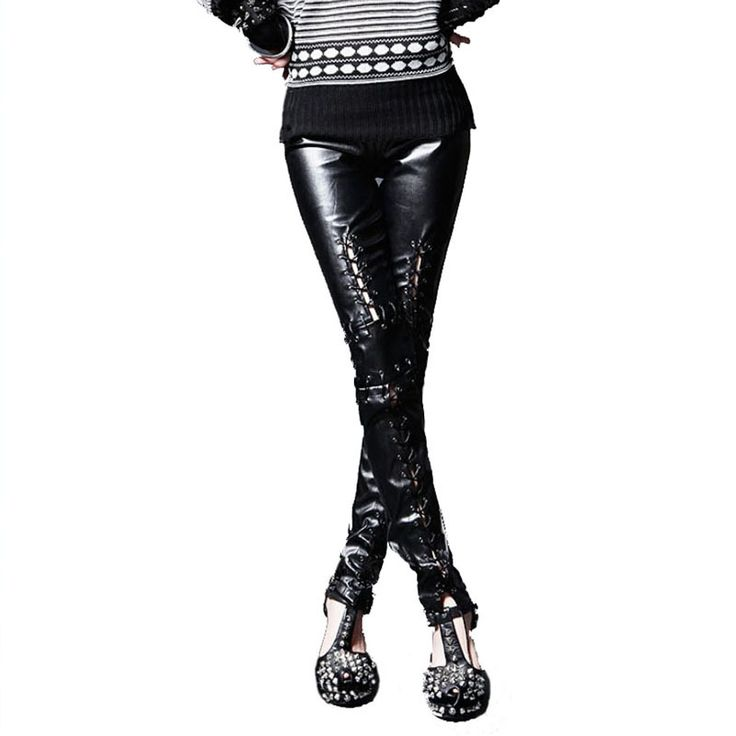 Encontrar Más Leggings Información acerca de Punk Armor corsé con cordones Vegan pu de cuero de imitación poca altura , con cremallera Ankle negro pantalones Leggings para mujeres, alta calidad polainas tendencia, China polainas precios Proveedores, barato legging de Skymove en Aliexpress.com