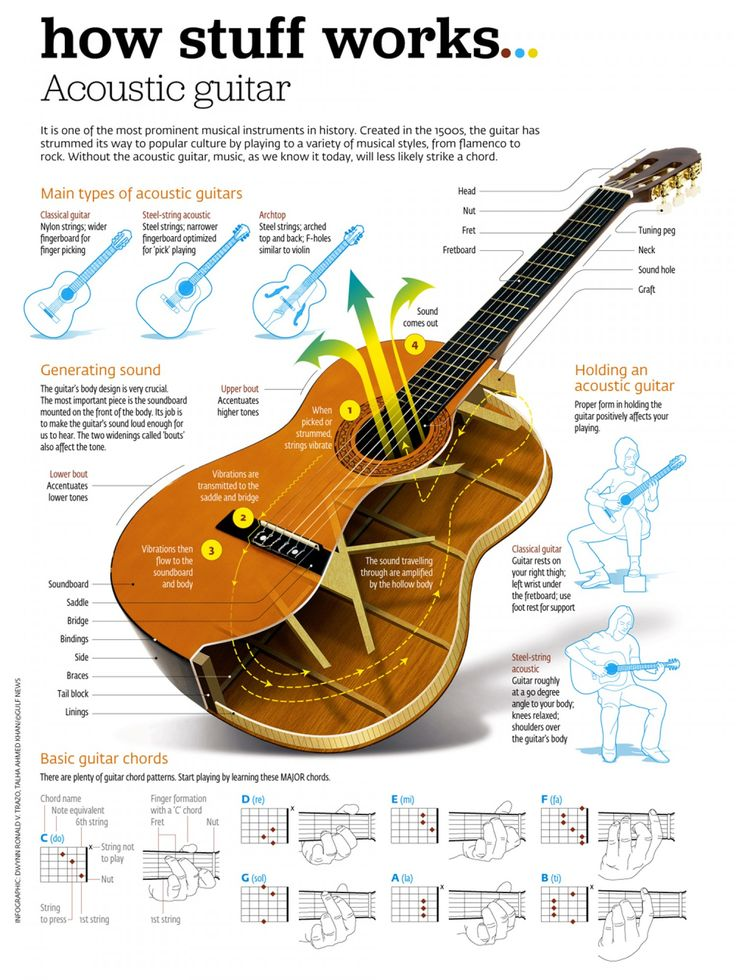 How an Acoustic Guitar Works - http://www.bestinfographics.co/how-an-acoustic-guitar-works/
