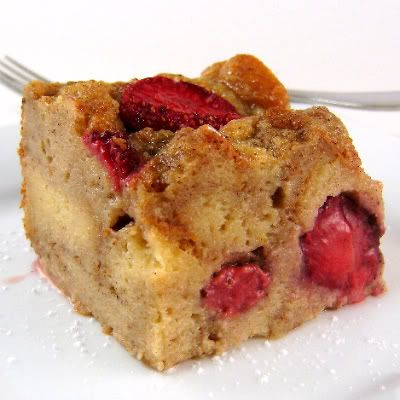 Bread pudding with strawberries. I have an old loaf of amish sweet ...