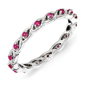 Stackable Expressions Sterling Silver Created Ruby Ring. Sale Priced At $40.  Sizes 5-6-7-8-9-10.