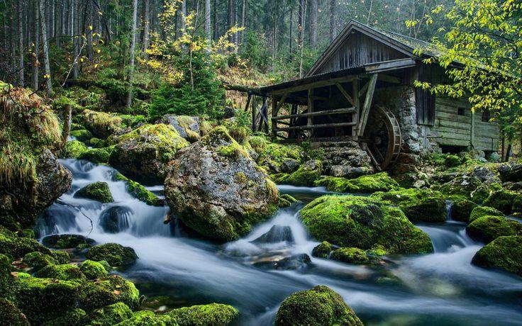 Młyn, Wodny, Rzeka, Kamienie, Las