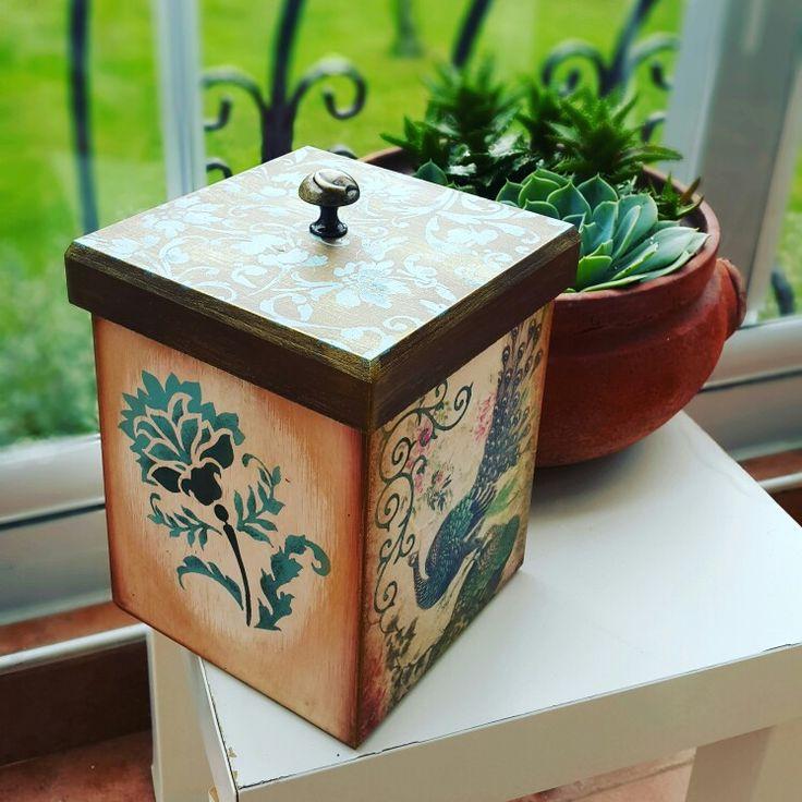 Ahşap boyama dekupaj eskitme kutu  Wood painting