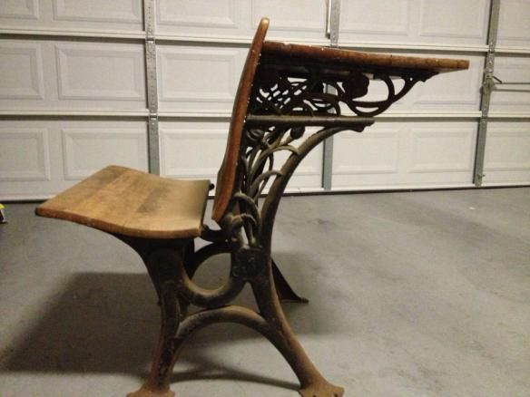 Refinishing old school desk.