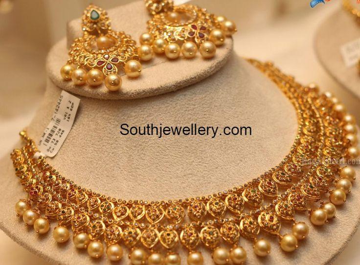 Uncut Necklace and Chandbalis Set - Jewellery Designs