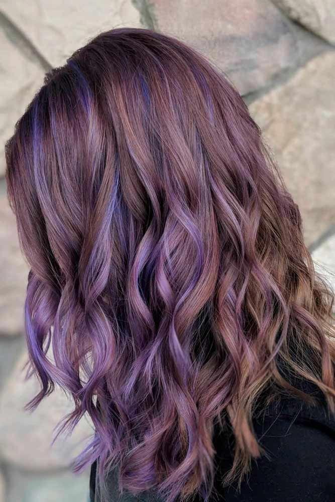 Brown Hair With Purple Highlights Ashhair Purplehair Longhairstyles Purple Hair Highlights Purple Highlights Brown Hair Purple Brown Hair