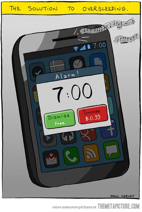 The solution to oversleeping: Ideas, Iphone App, Alarm Clocks, Mornings Personalized, Comic, Funny Pictures, Wakeup, Wake Up, Sleep