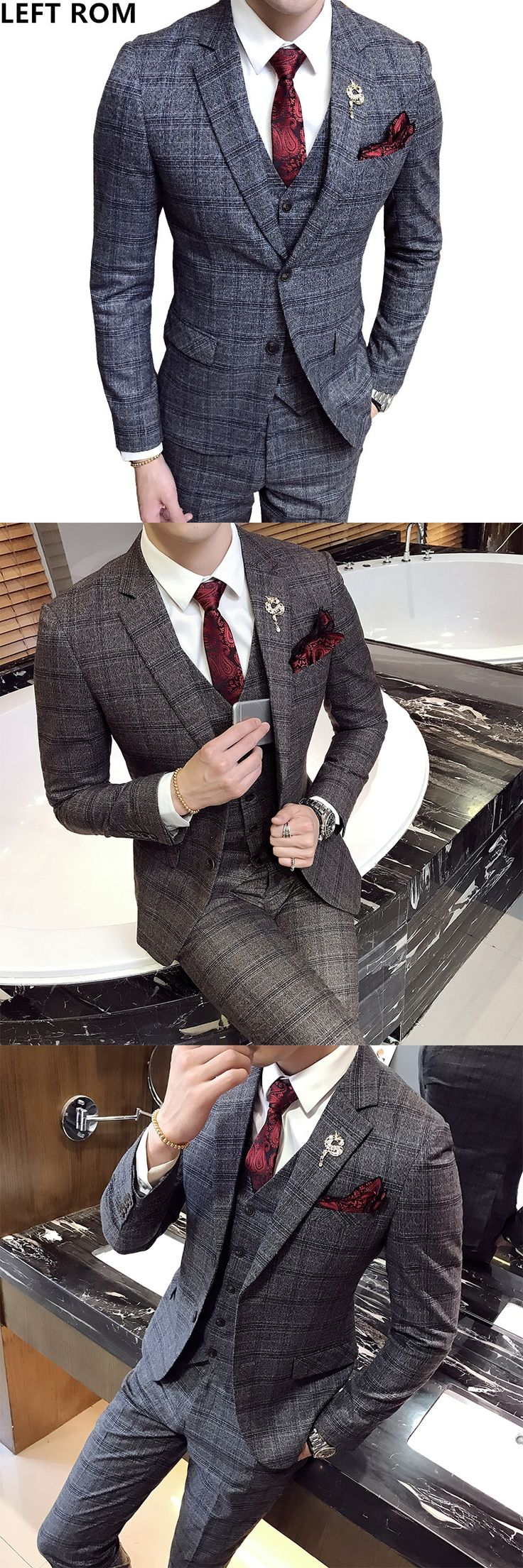 LEFT ROM Plaid suit men's casual groom wedding suit vest trousers three sets/2017 Male senior Comfortable Business affairs Suit