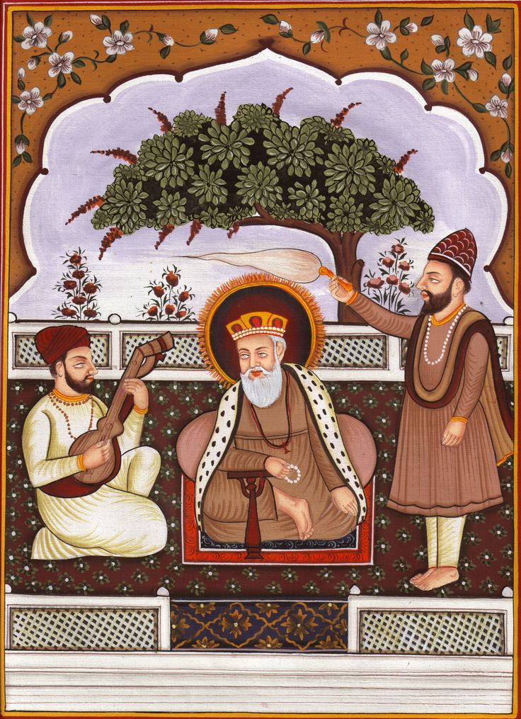 Sikh Guru Nanak Ji Painting Handmade Sikhism First Guru Religious Punjab Artwork