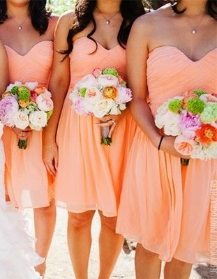 Bridesmaid Dresses (light orange, knee length, strapless, taffeta)