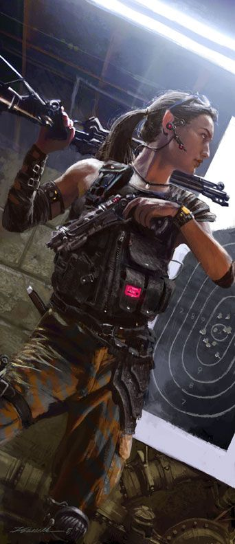 * Weapons Specialist ~ Michael Komarck Illustration *...this makes me think of Shadowrun. :D