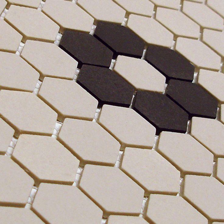 Shop for SomerTile New York Hex Antique White/Black Flower Unglazed  Porcelain Mosaic Tile (P. Get free delivery at -
