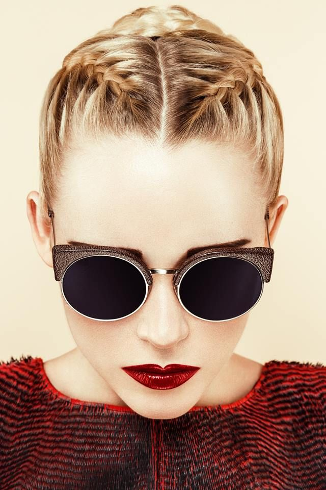 1930's summer style inspiration- dark lipstick, plaited hair and round sunglasses