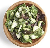 Mixed Green Salad with Cucumber, Sesame Seeds, and Ginger-Yogurt Dressing