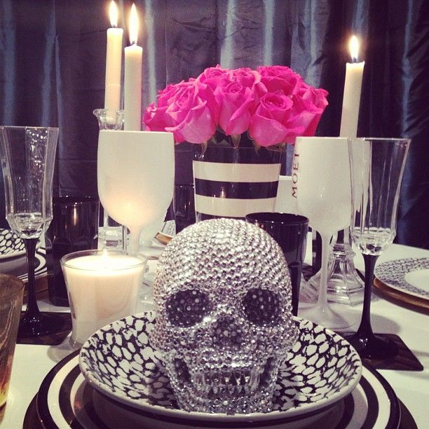 Z Gallerie's Metallic Skull takes center stage in this glam tablescape, styled by @Ashlina Kaposta.