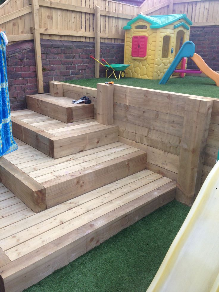 Sleeper steps with decking inlay and artificial lawn in for Garden decking sleepers