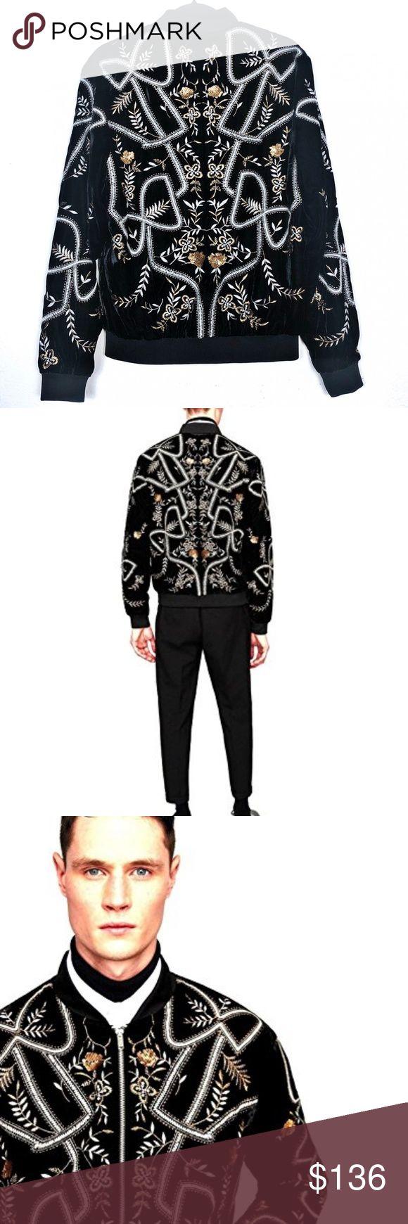 NWT Zara Velvet Embroidered Sequin Bomber Jacket NWT