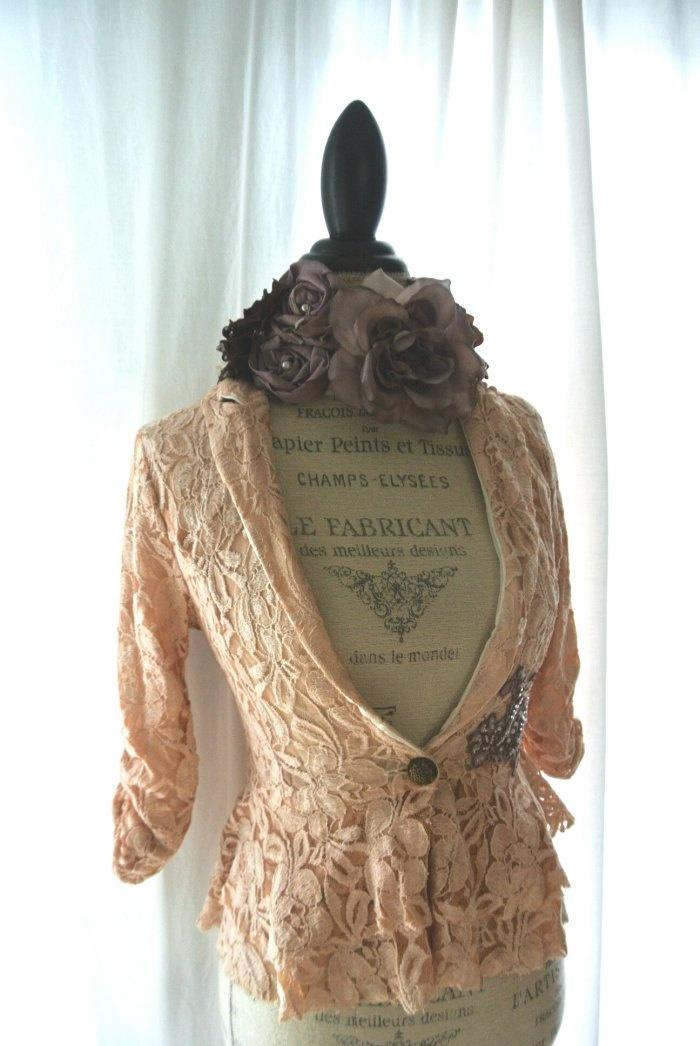 Lace fall blazer, shabby bohemian jacket, tattered womens clothing, boho chic, rustic farm fall coat. $64.00, via Etsy.