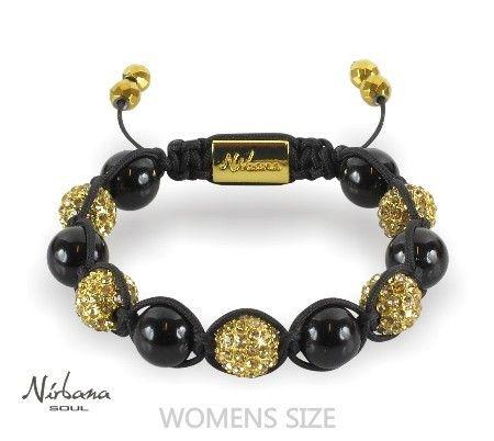 Nirbana Soul - Jetta Gold - Crystal & Onyx Shamballa bracelet