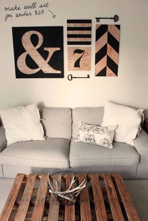 l o v e / d e s i g n / s u n s h i n e: DIY Wall Art: use plywood instead of canvas.  add side trim to make it chunky.