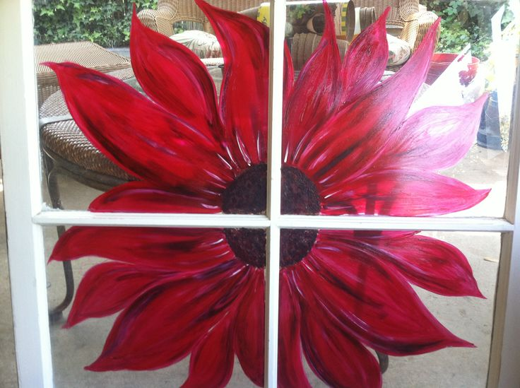 Red sunflower painted window pane
