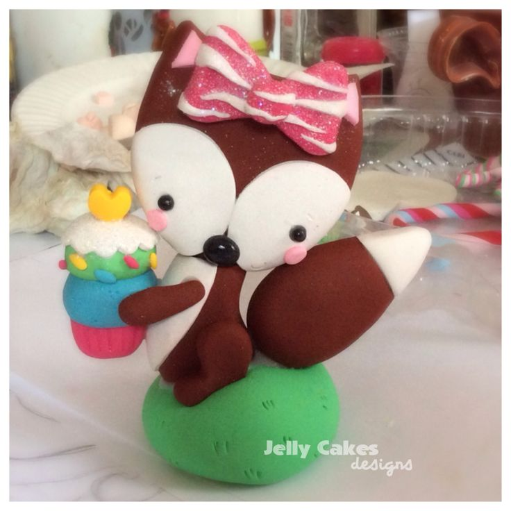 Cute fox cake topper ~handcrafted from polymer clay, perfect for birthdays, baby showers & weddings~