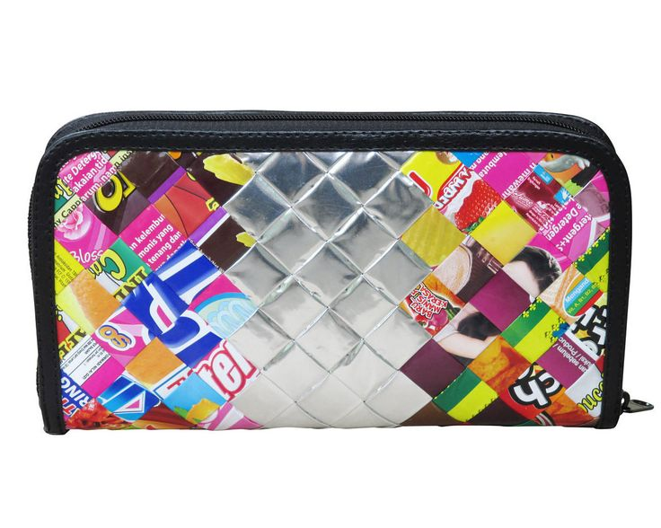 Extra Large zip wallet using candy wrappers FREE SHIPPING