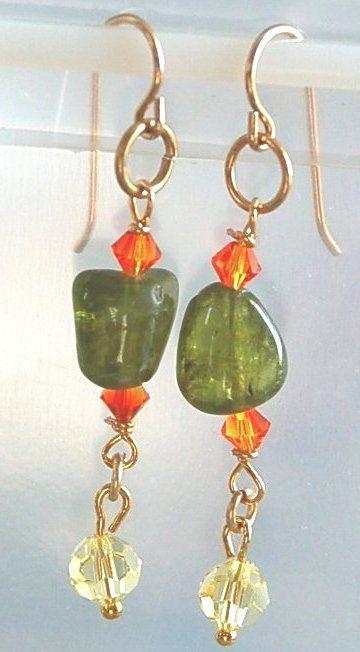 Örhängen - med Peridot stenpärlor - för lycka