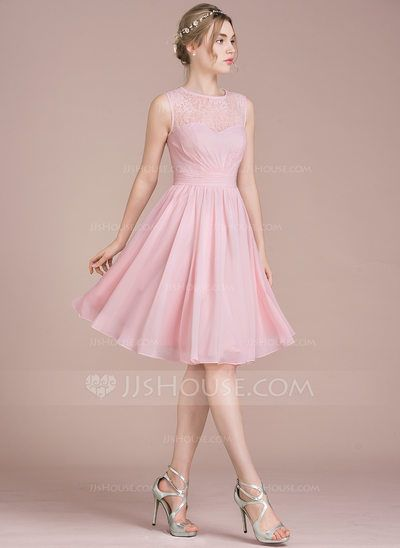 [US$ 94.19] A-Line/Princess Scoop Neck Knee-Length Chiffon Lace Bridesmaid Dress With Ruffle