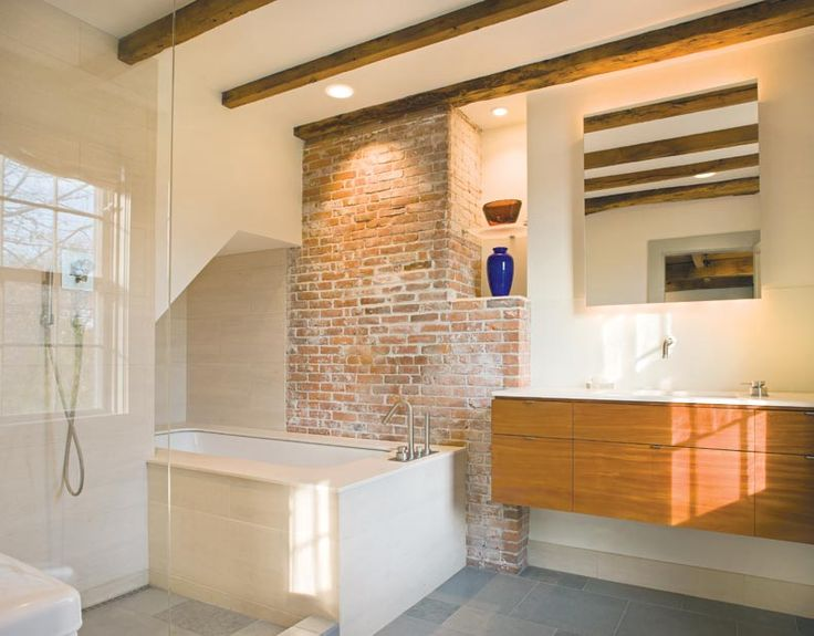 Exposed Brick And Beams Lend Age To A Modern Bathroom Photo Warren Jagger