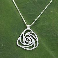 Sterling silver pendant necklace, 'Thai Rose' by NOVICA