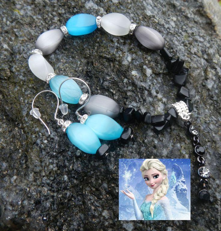 Купить Льдинки Эльзы Комплект серьги + браслет с шармом - простота, сережки подарок