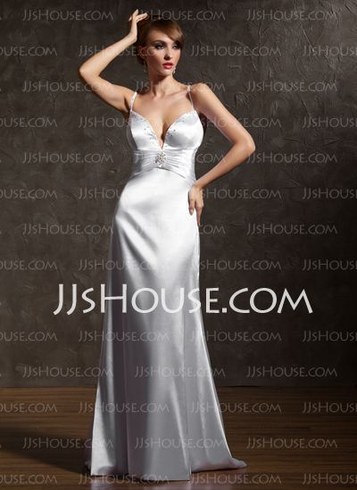 Prom Dresses - $104.99 - Sheath V-neck Sweep Train Charmeuse Prom Dresses With Ruffle  Beading (018002822) http://jjshouse.com/Sheath-V-neck-Sweep-Train-Charmeuse-Prom-Dresses-With-Ruffle-Beading-018002822-g2822