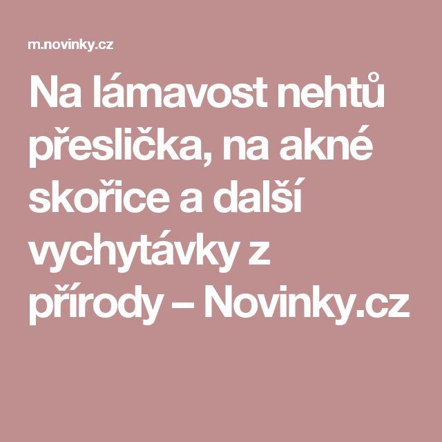 Na lámavost nehtů přeslička, na akné skořice a další vychytávky z přírody– Novinky.cz
