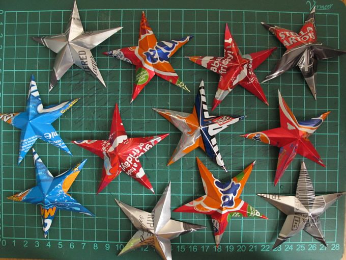 Aluminum can 3D barn stars, My favorite star and make enough of these could make awesome lighting added to a string of lights or ornaments on a tree.