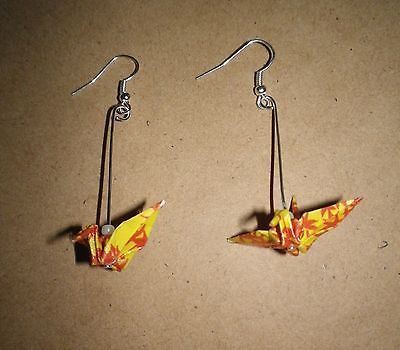 Japanese-Origami-paper-crane-bird-earrings-handmade-yellow-maple-silver-dangle for sale