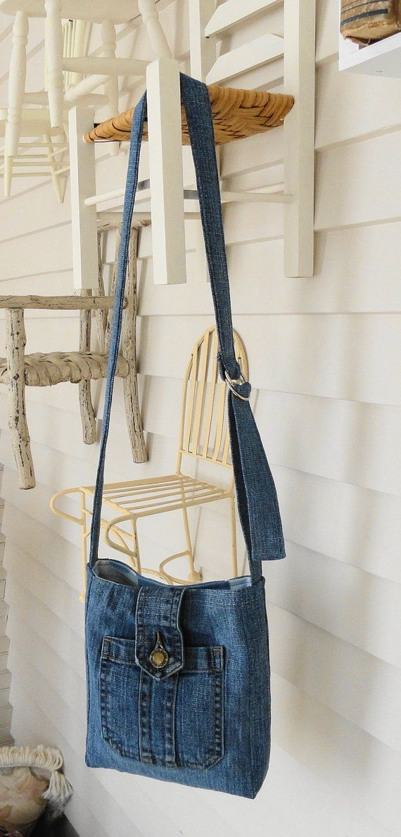 This is a private listing for Onewildhare. Upcycled from a denim thrift store skirt, this sturdy bag has an adorable exterior pocket with a