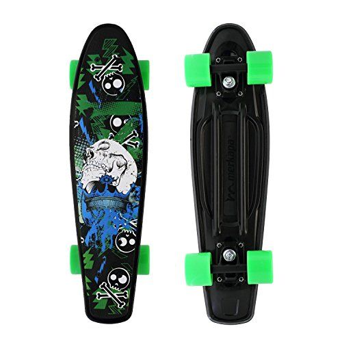 "Merkapa Complete 22 inch Skull Style Skateboard for Kids, Beginners  Original Skull Style Design 22 inches Plastic Kids Skateboard, Fully Assembled, Designed for both beginners and advanced riders.  22'' Long x 6'' Wide Deck with Colorful screen-printed. Good anti-slip effect with the compact street board for more perfect riding.  High Quality 3"" aluminum trucks for stability and quicker turning.  High Rebound PU wheels with ABEC-7 High Speed Bearing provide great roll and grip.  30 Da..."