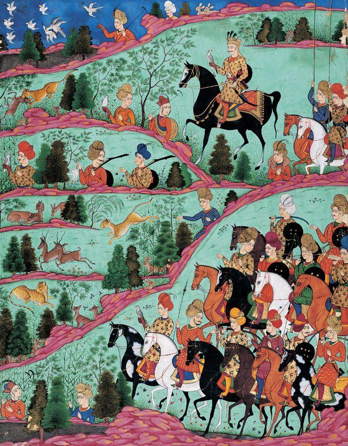 Khosrow à la chasse, page du Khamseh de Nezâmi, miniature, Ispahan, 1740. Collection du prince Sadruddin Aga Khan, Genève.