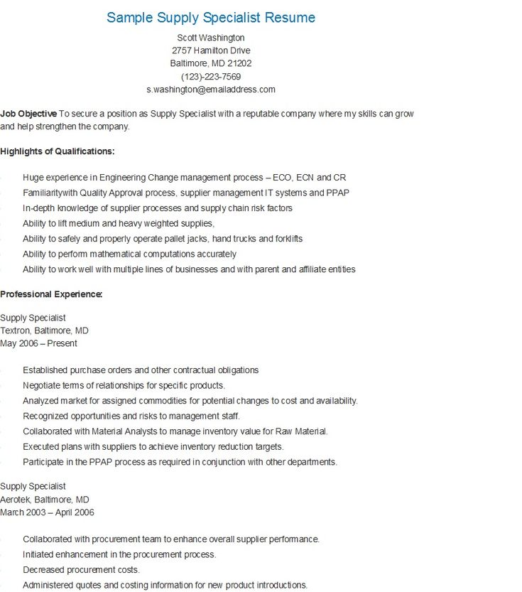 sample supply specialist resume unit supply specialist resume