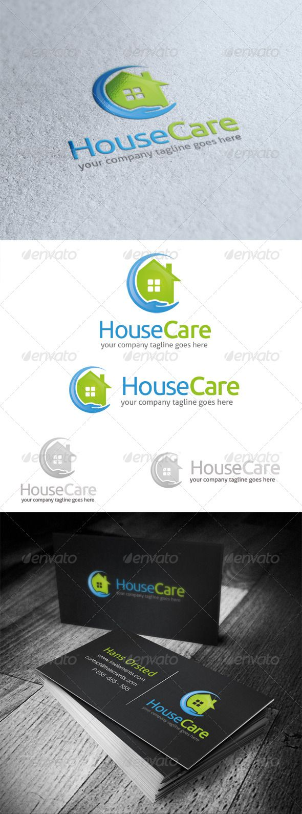 House Care Logo  #GraphicRiver         House Caservice or real estate company that offer house