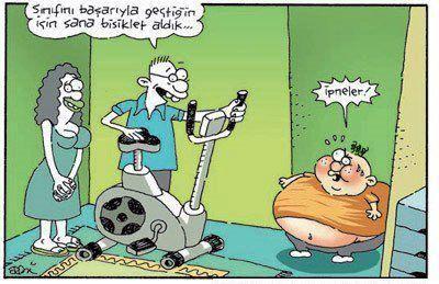- Sınıfı başarıyla geçtiğin için sana bisiklet aldık... + İpneler! #karikatür…