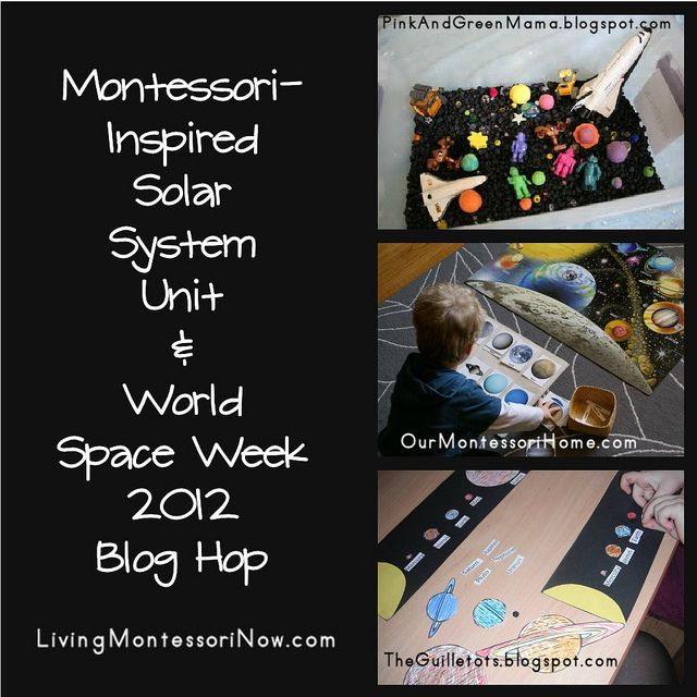 Lots of Montessori-inspired printables and hands-on activities for a solar system unit. It's also World Space Week, and you'll find the World Space Week 2012 linky here!